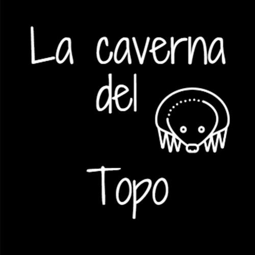 """Logo de La Caverna del Topo, el podcast. En un fondo negro se ve la silueta de un topo contorneada en blanco mirando hacia arriba. Rodeándolo letras blancas que ponen: """"La Caverna del Topo""""."""